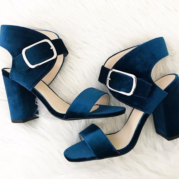 Shoes - Sophia Velvet Teal Heels